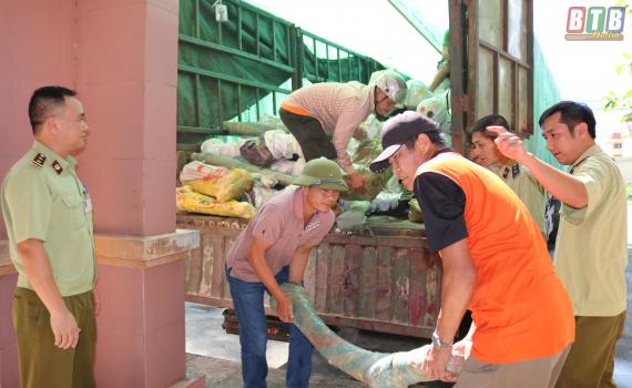 Cục QLTT Thái Bình: phát hiện 01 xe đầu kéo chở 12 tấn hàng hóa có dấu hiệu vi phạm.